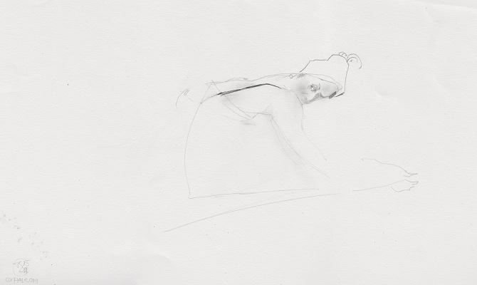 Pencil figure on rough paper