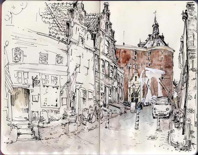 Dutch Architecture Ink drawing