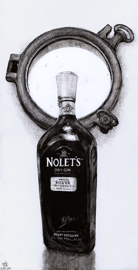 Gin Bottle ink drawing