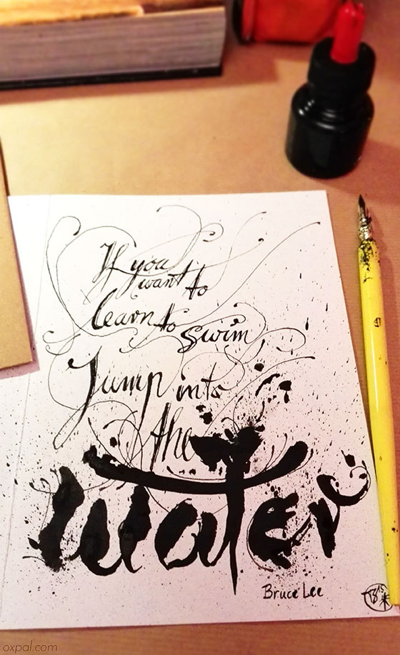 Bruce Lee quote calligraphy