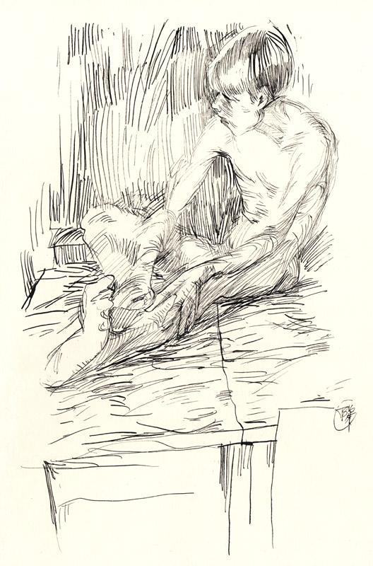 Male figure in low light