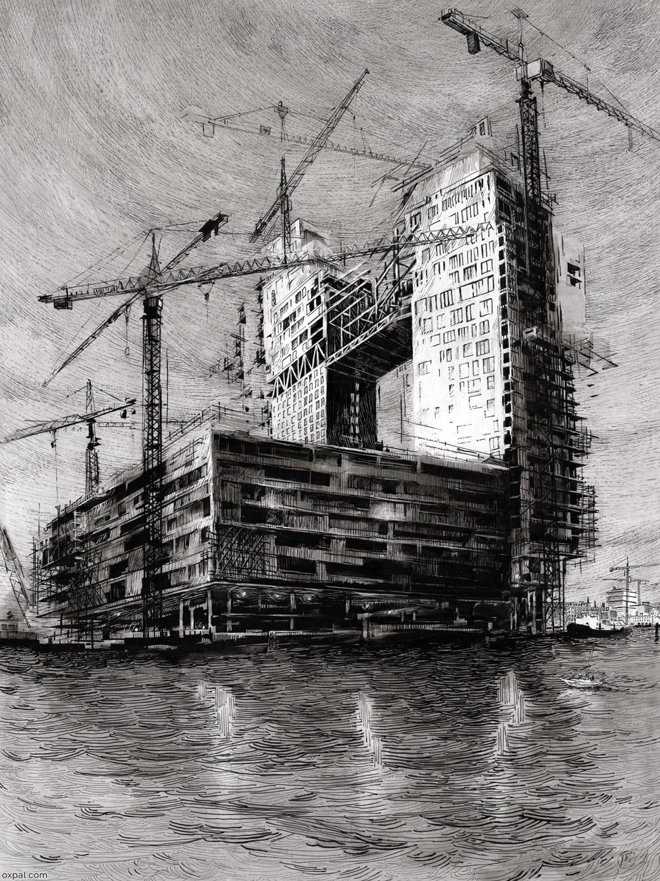 Nightfall on Construction - ink art