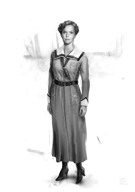 1910s European woman's costume - plaid
