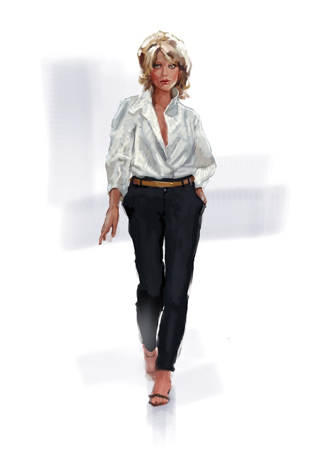 Light white top, fashion illustration