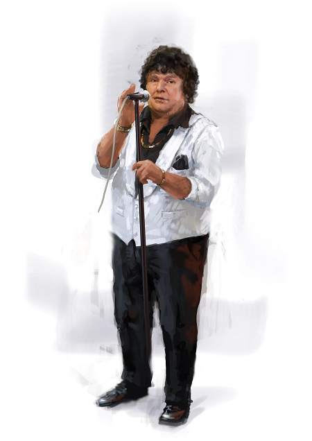 Costume Musical- Hij Gelooft in Mij: André Hazes - 90s dress version, white jacket, microphone