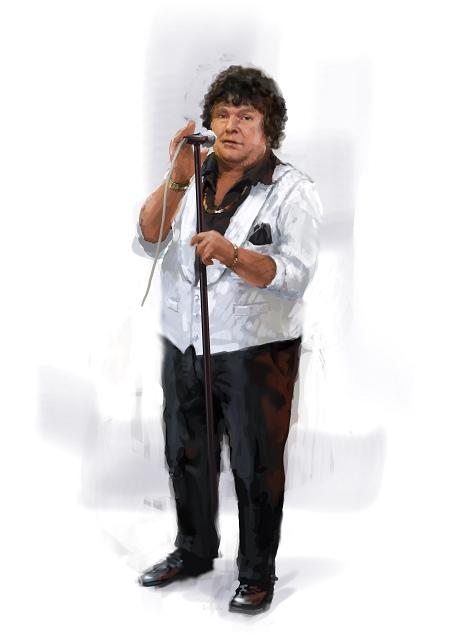 Costume Musical- Hij Gelooft in Mij: André Hazes - 90s dress version, white jacket, microphone