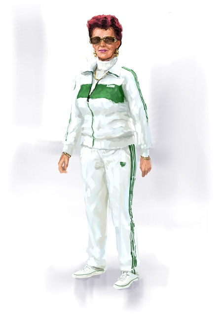 Costume Musical- Hij Gelooft in Mij: Friedel van Galen in adidas sports dress - jumper or white tracksuit