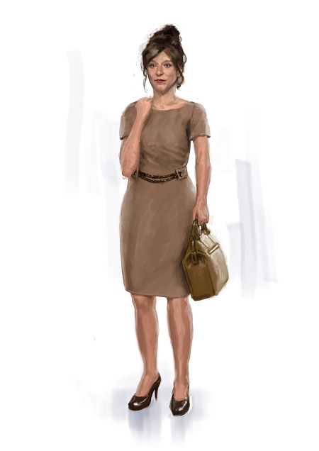 ocre dress fashion illustration