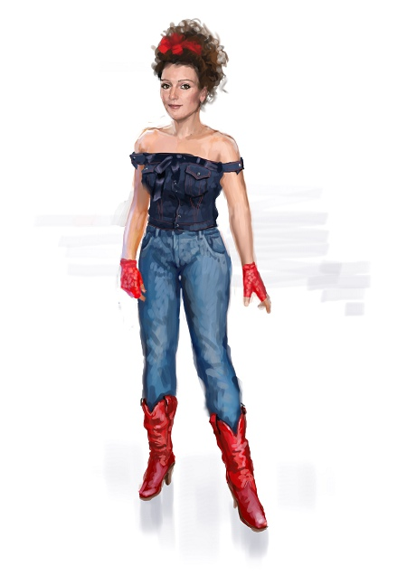 Costume Musical- Hij Gelooft in Mij: Conny in 80s style, jeans, red cut off gloves, bow in hair
