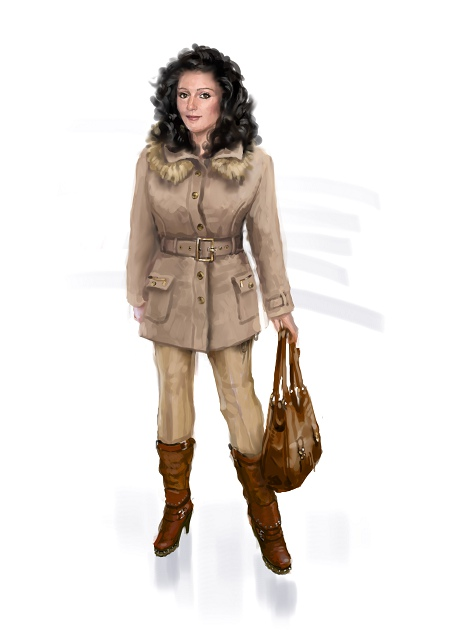 Costume Musical- Hij Gelooft in Mij:Dutch style dress, brown jacket with fur plus bag