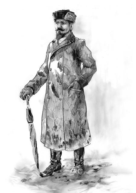 Russian mens coat, hat - ca. 1880