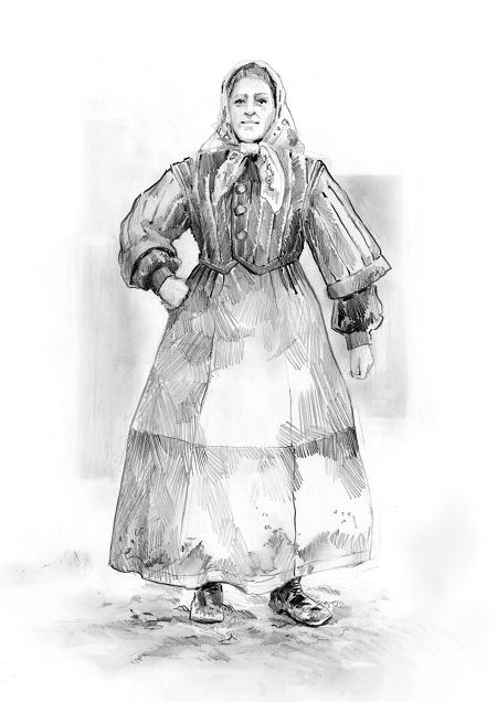 Katia Kabanova (Kaja, Katija, Katya) - peasant womens costume design - ca. 1880