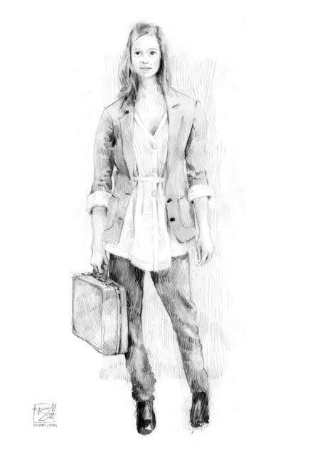 Costume Design - short jacket, white blouse, jeans