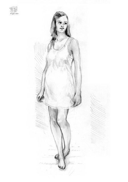 Costume Design - simple white night dress.