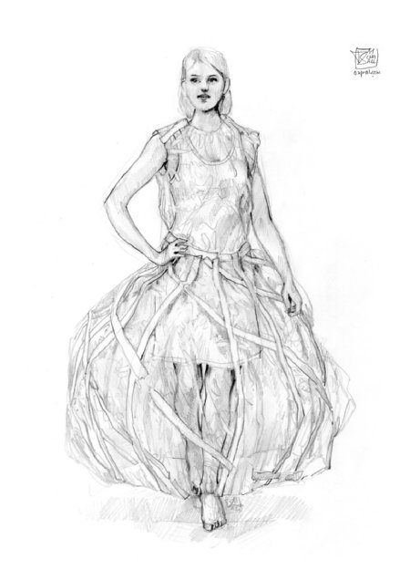 Costume Design - makeshift dress in a sphere of plastic
