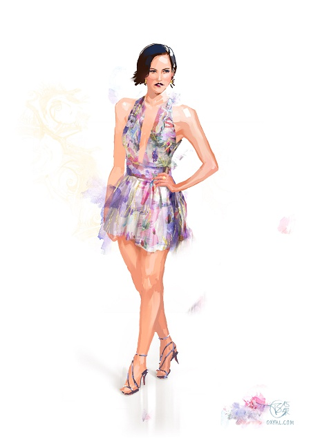 Costume Illustration - Musical - Short colorful party dress