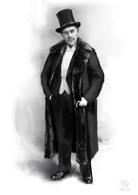 Russian upper class costume: Diaghilev with fur coat and top hat.