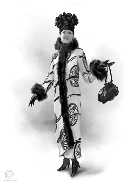 Early 20th century - upper class costume: Emilia in a stylish white coat with pattern.
