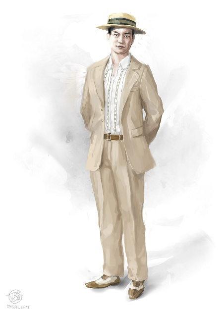 Upper class costume: Creme Summer Suit.