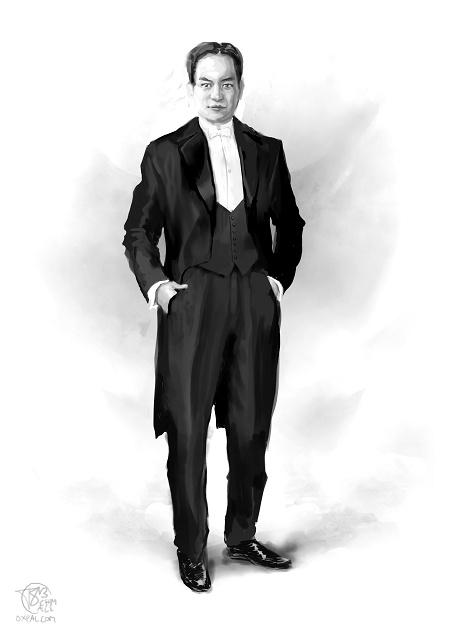 1910s - upper class tuxedo: Vaslav in an evening suit.