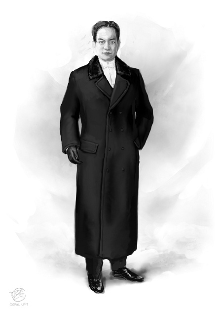 Early 20th century - upper class costume: Vaslav in tuxedo and coat.