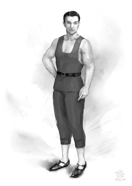 Vaslav in a early 20th century dancers dress.