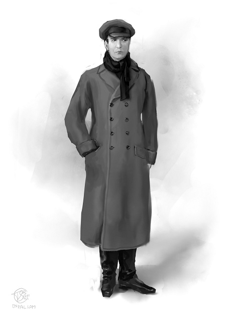 Russian early 20th century costume: The servant in simple coat and cap.