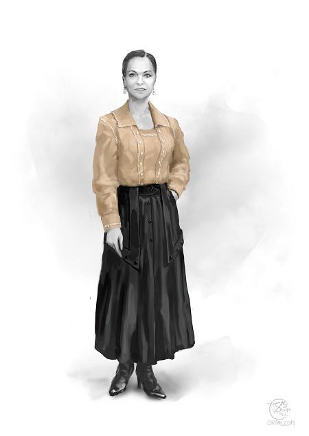 Russian upper class: creme dress with long black skirt.