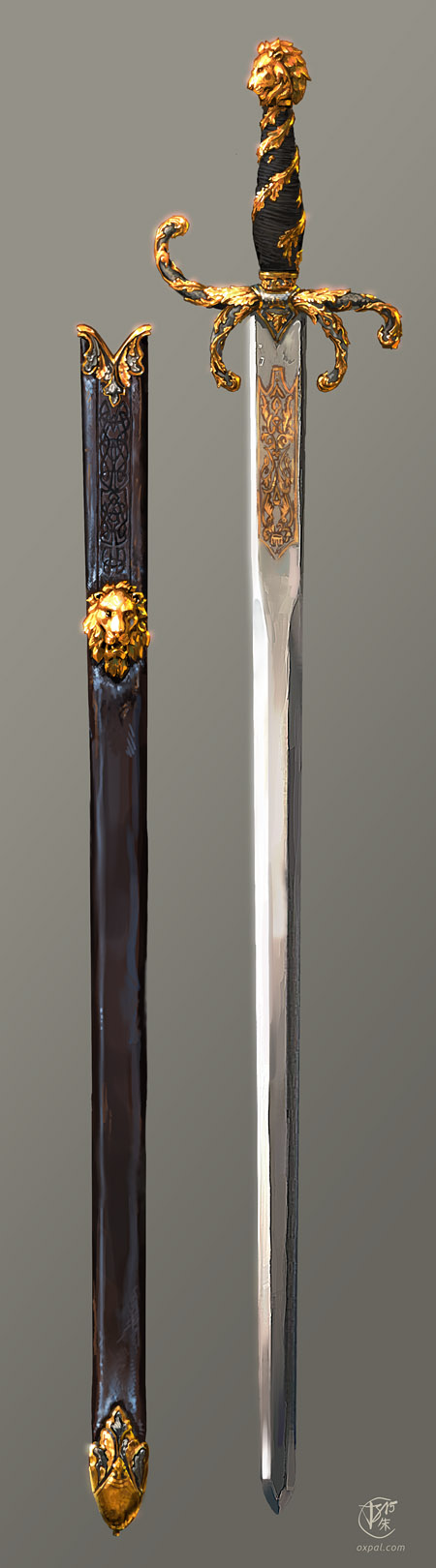 Sword Concept Art, Gold Ornaments