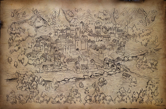 Pencil Fantasy Town Map