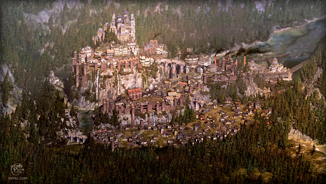 medieval imaginary cityscape with palace, map