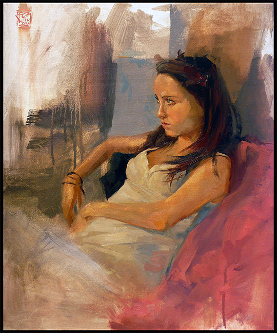Portrait Anna, 50x50cm Oil on Canvas