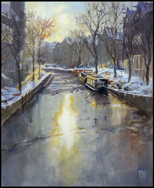 Amsterdam (Prinsengracht) in the snow - oil on canvas (40x50cm)