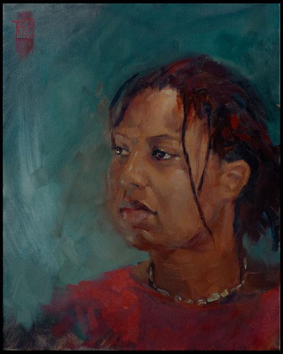 Lake (portrait), oil on linen canvas 50x40 cm