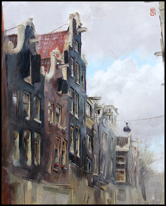 """Summer Shower in the Singel"", oil on 40x50 cm linen"