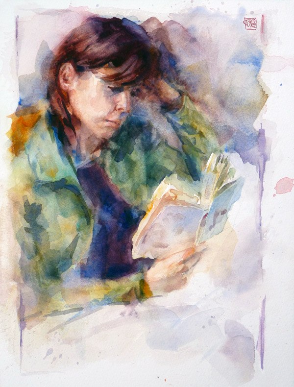 "Thomas Schmall ""Irina"", watercolor on 31x23cm paper"