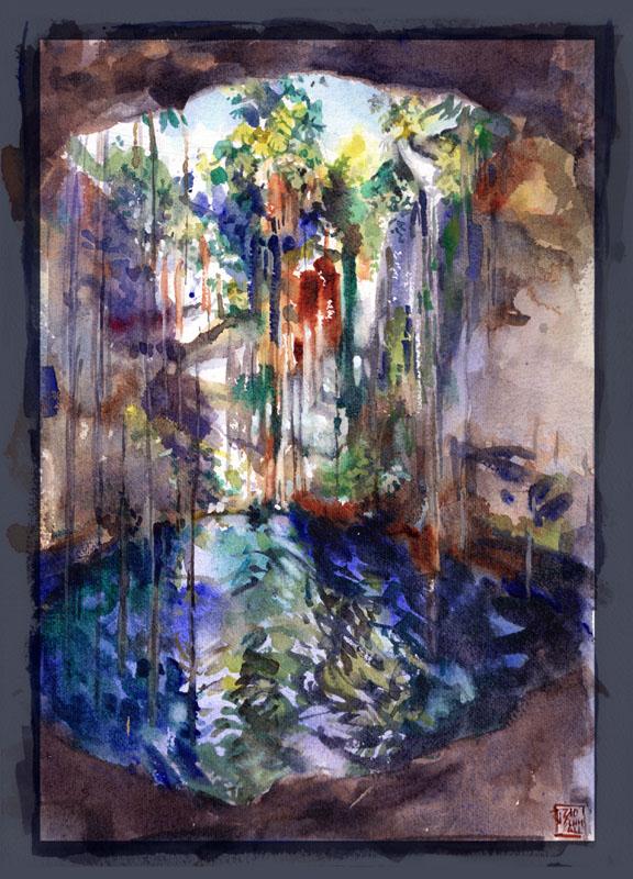 """Thomas Schmall, """"Cenote"""" - Watercolor on 31x23cm paper"""