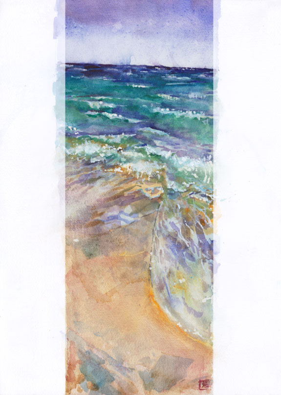 "Thomas Schmall ""Cancun Beach"" - Watercolor on 31x23cm paper"