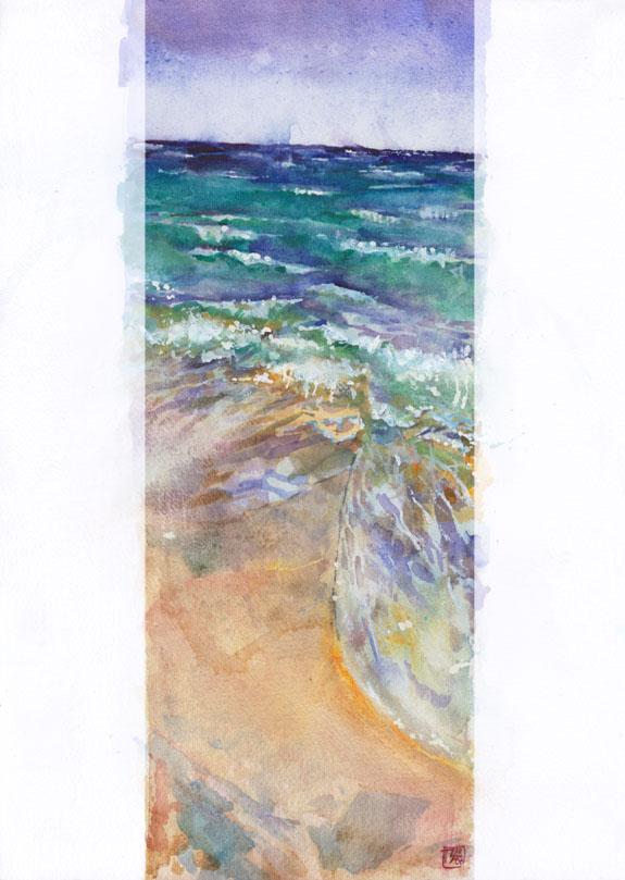 "Thomas Schmall ""Cancun Beach"" - Watercolor on 31x23cm paper"