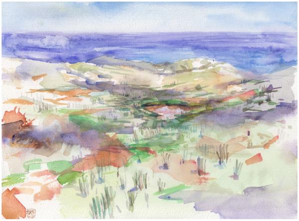 """Arubascape"", watercolor on 31x23cm paper"