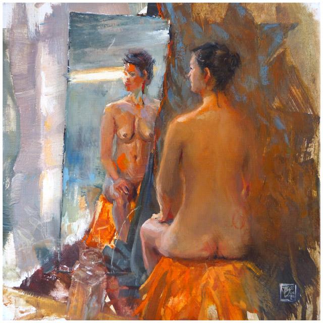 "Thomas Schmall - ""Emily""  - oil on 20x20cm canvas"