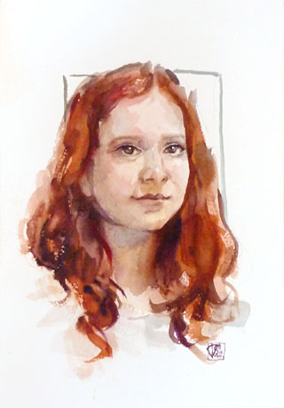 The Sister Portrait, water color on 31x23cm paper