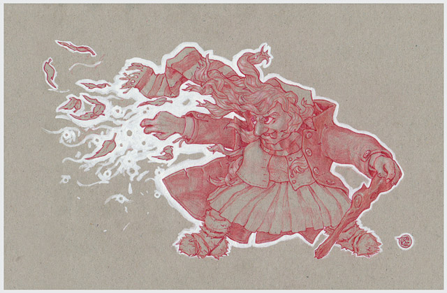 Cute Witch - 2012 - Red Pencil on Gray Paper