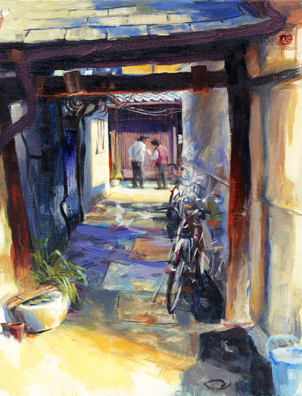 Machiya Gateway - oil painting Thomas Schmall