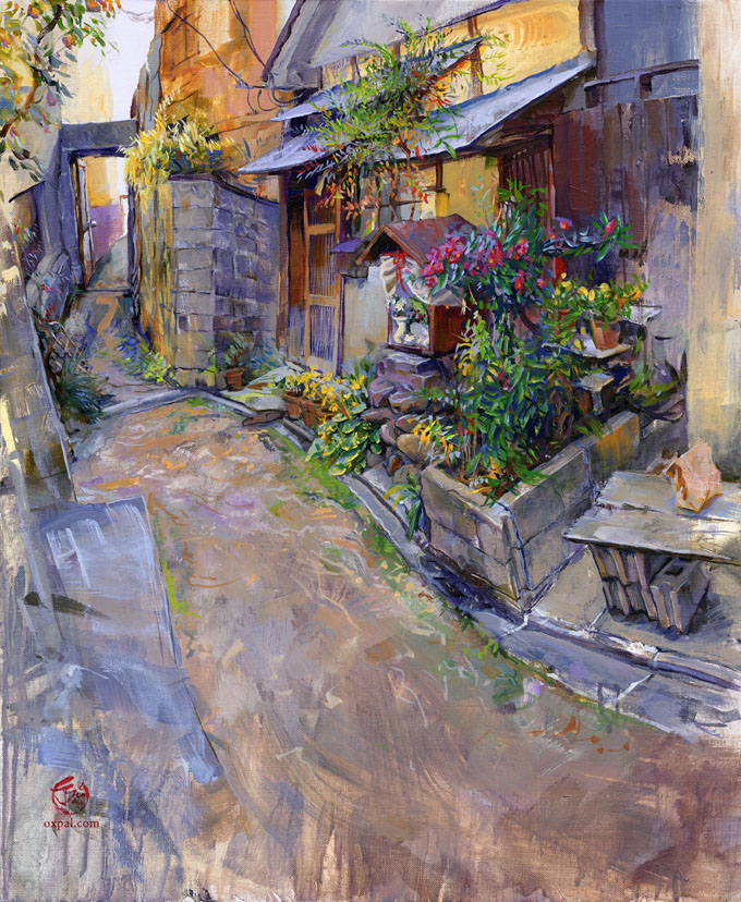 Machiya Painting: The Path (Kyoto Back Alley)