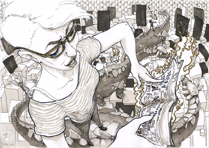 Thomas Schmall: Marker Drawing - Feminist Reading Glasses Dinosaur