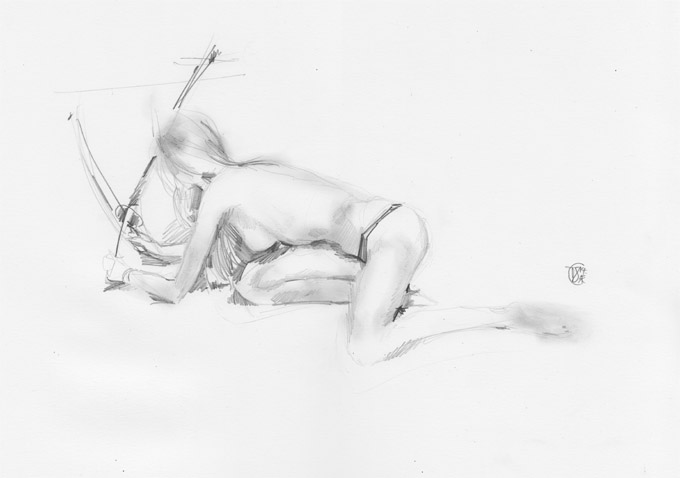 Life Drawing - girl with two swords