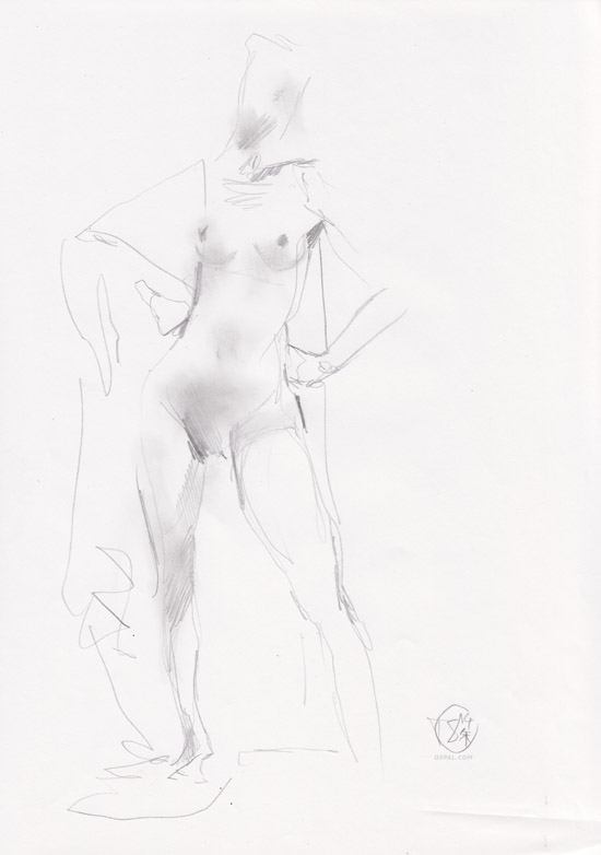 Life Drawing - Pencils - Nude Confident