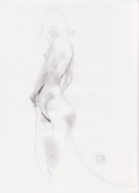 Life Drawing - Pencil - Nude Standing