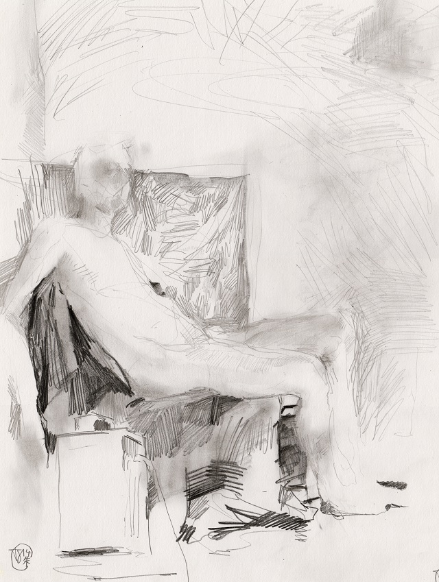 Male Figure Drawing - Sitting - Pencil